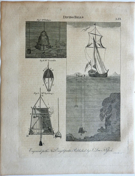 Diving Bells Underwater Exploration Sailing Ships 1807 Low engraved print