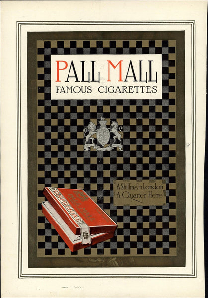 Pall Mall cigarette London advertisement 1912 vintage Harper's color print
