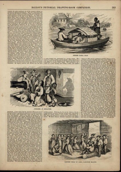 Hawaiian Dancing Girls Nudity Jugglers Tanka wonderful 1855 unusual old print