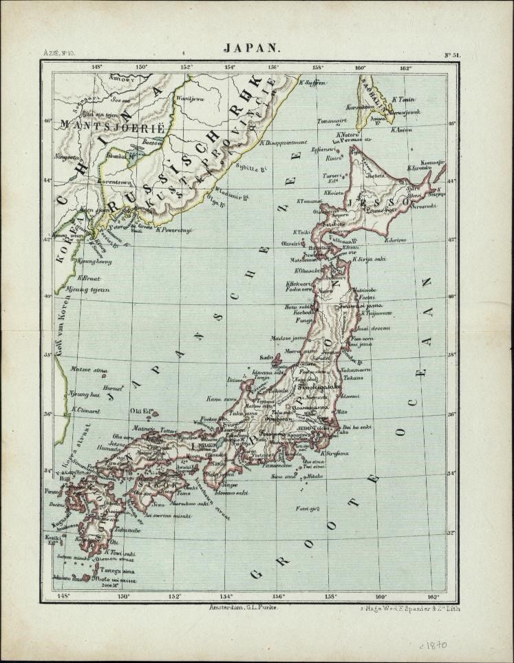Japan 1870 antique Dutch map color lithographed charming perfect gift item