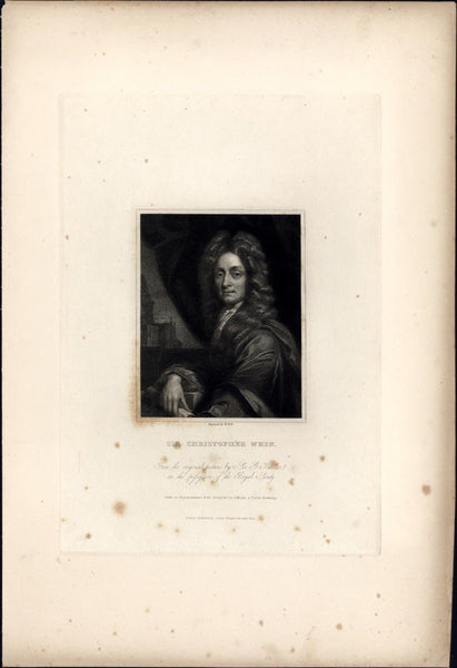 Sir Christopher Wren English architect 1834 engraved portrait print India proof