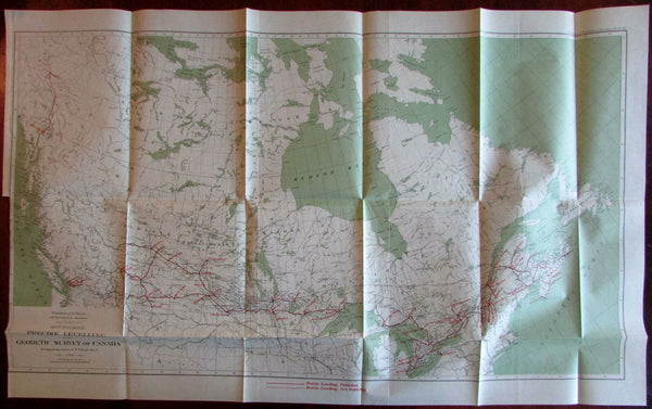 Canada Interior Astronomical Branch Precise Leveling 1916 large color survey map