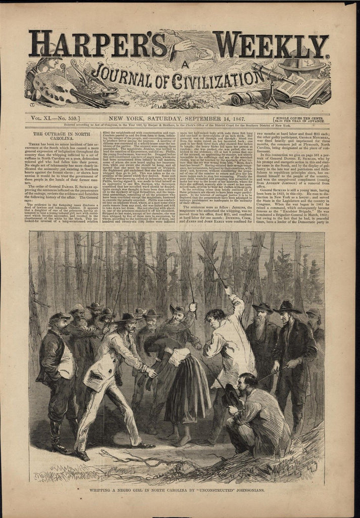 Whipping Negro Girl Racist Southerners Cruelty 1867 antique wood engraved print