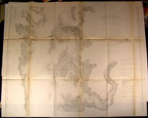 Chesapeake Bay Head to Potomac River Virginia 1862 U.S.C.S. old nautical chart