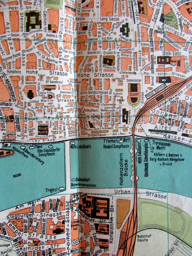 Cologne Koln a. Rhein Germany c.1900 Vintage Europe City Plan folding pocket map