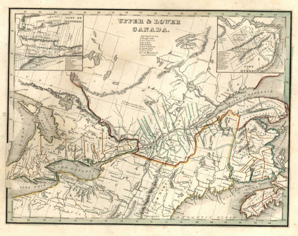Upper and Lower Canada Montreal Quebec Lake Ontario 1835 Bradford early U.S. map