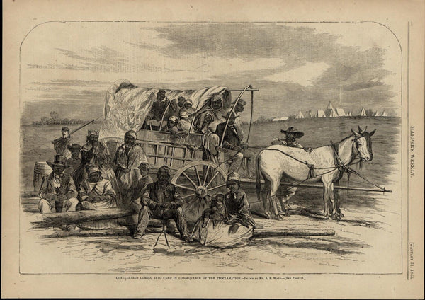 Emancipated Black Slaves Arriving to Camp nice 1863 great old print for display