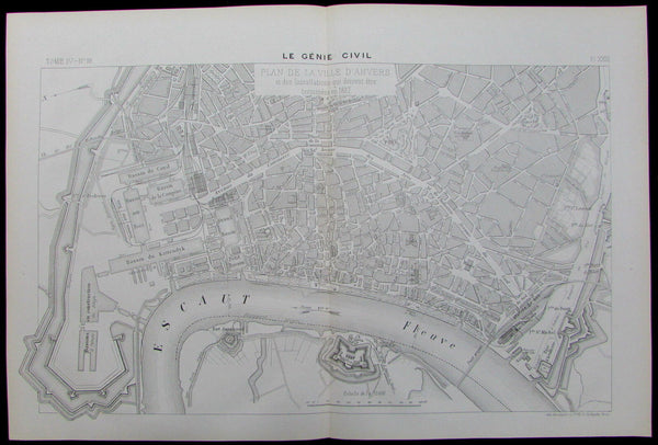 Antwerp Anvers Belgium 1887 detailed scarce city plan showing engineering
