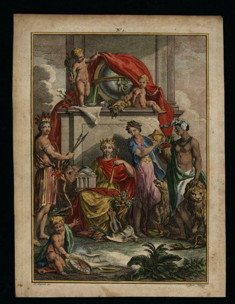 Frontispiece Allegorical Continents Indian Native Lion 1748 lovely hand color