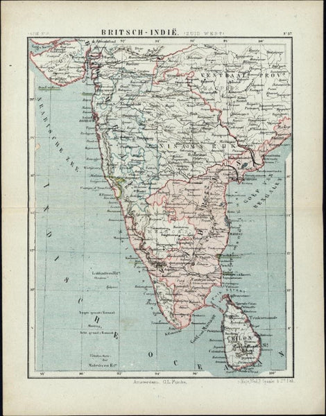 British India Ceilon 1880 scarce Dutch color antique map Ceylon Indian ocean
