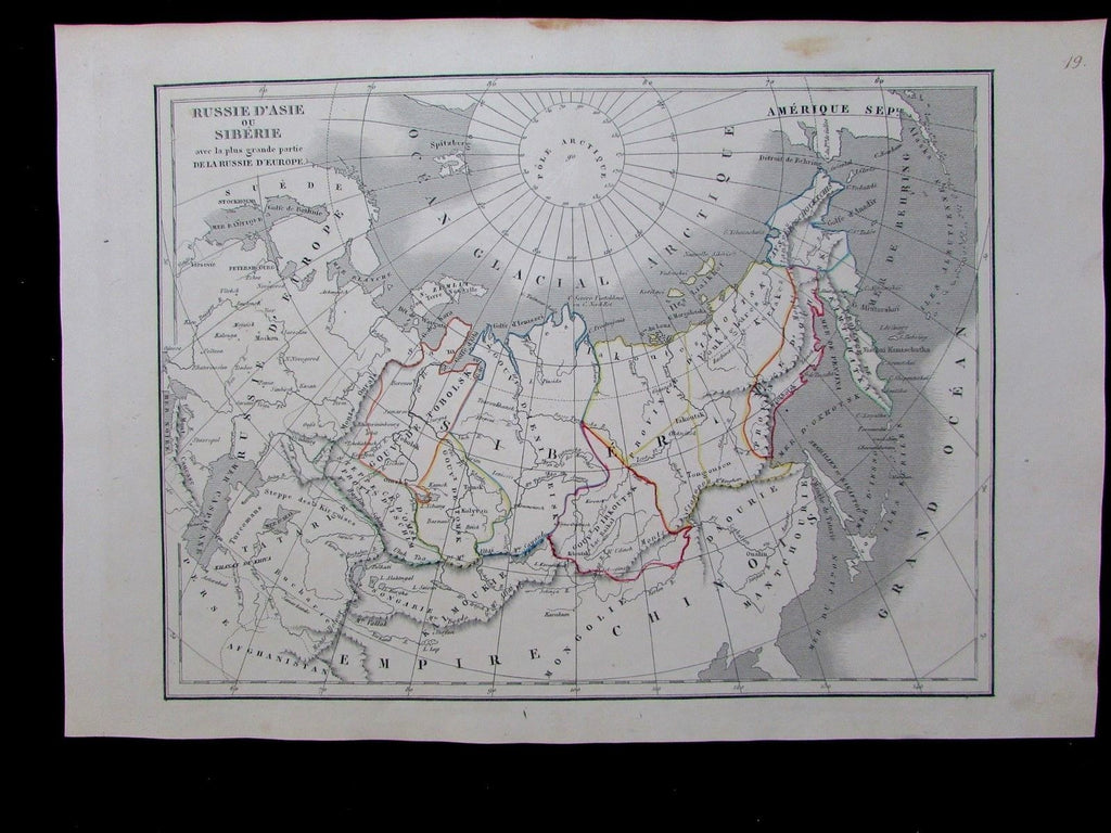 Russia Siberia Alaska Arctic Sea North Pole 1830 Langlois scarce antique map