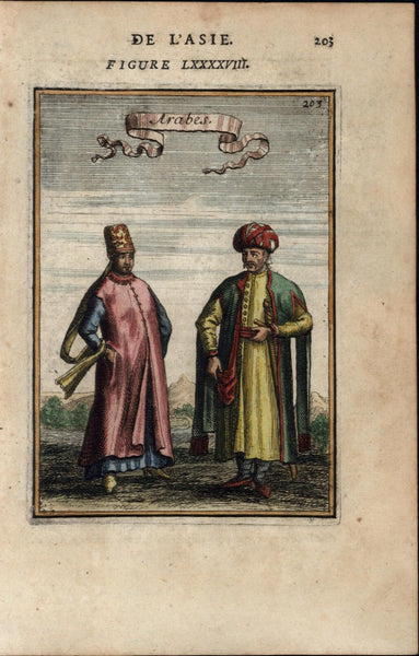 Arab men traditional dress Muslims Islam beautiful 1683 Mallet old antique print
