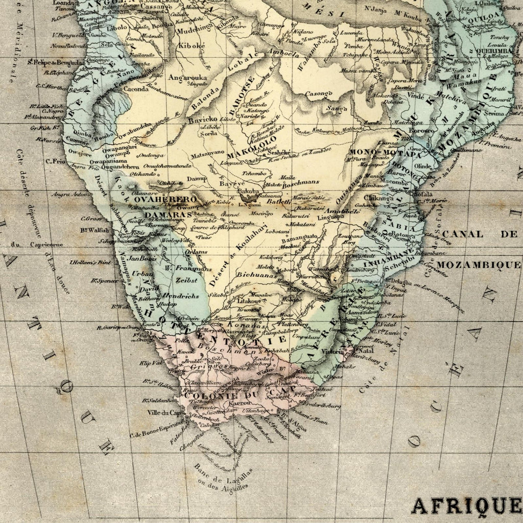 Southern Africa huge fantasy shaped lake Uniamesi Tanganyika 1855 Dufour old map