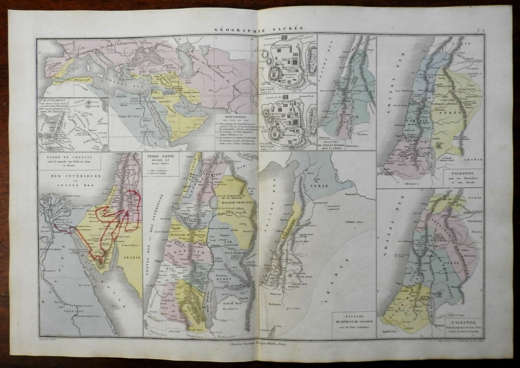 Holy Land Kingdom of Jerusalem Historical Israel Sacred Geography 1872 Belin map