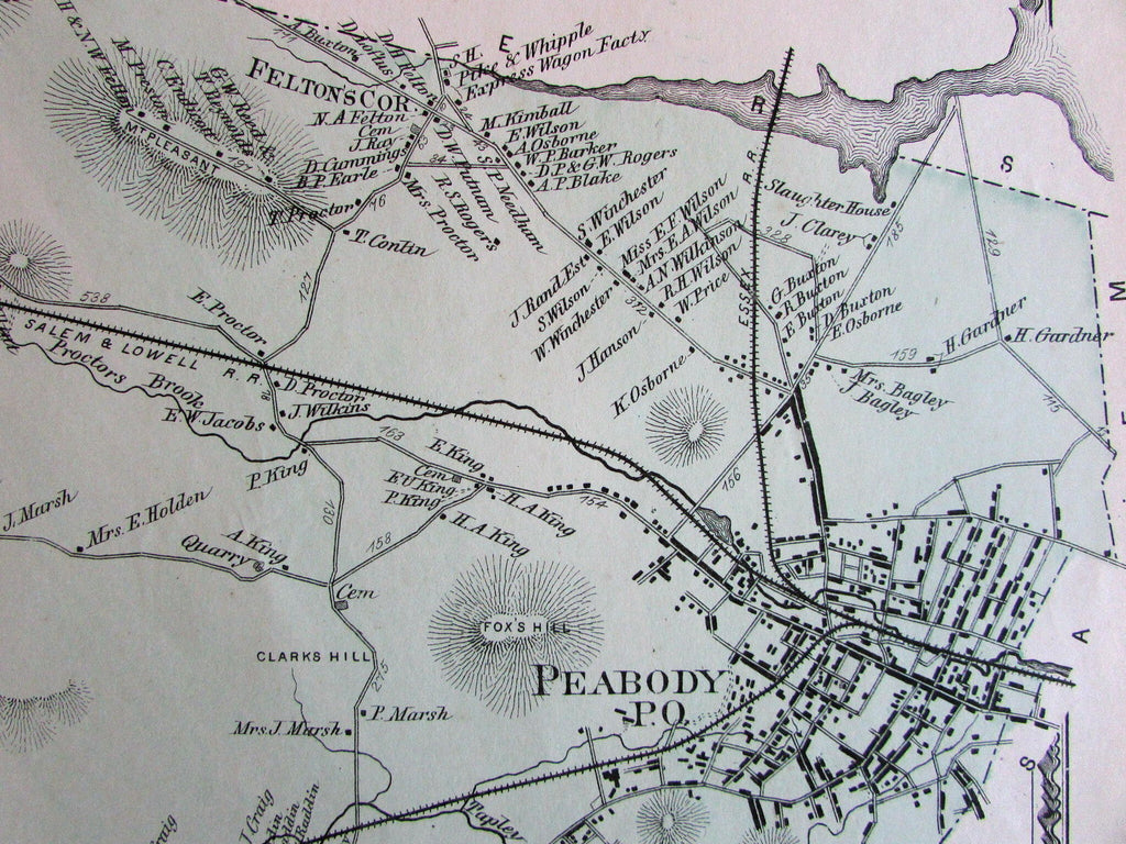 Peabody Brookdale Locustdale Essex County Mass. 1872 detailed old map
