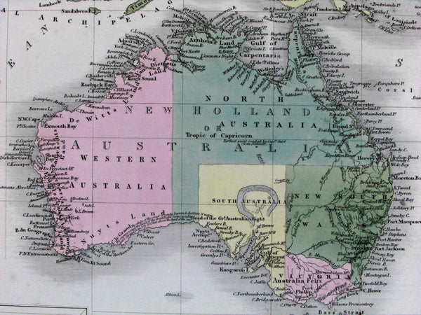 Australasia Australia New Zealand erroneous Lake Torrens hook 1853 Hughes map