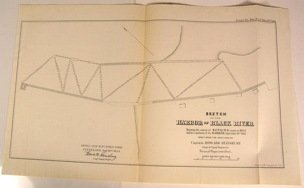 Black River Harbor Cleveland Ohio Lake Erie 1854 U.S.G. old state survey map
