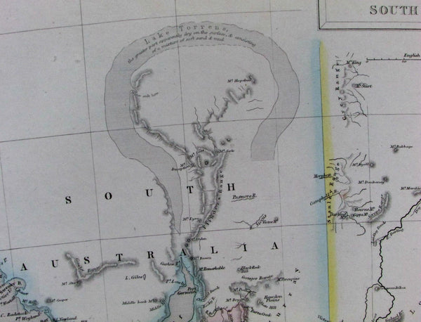 New South Wales Australia hook shaped Lake Torrens Gold 1853 Hughes scarce map