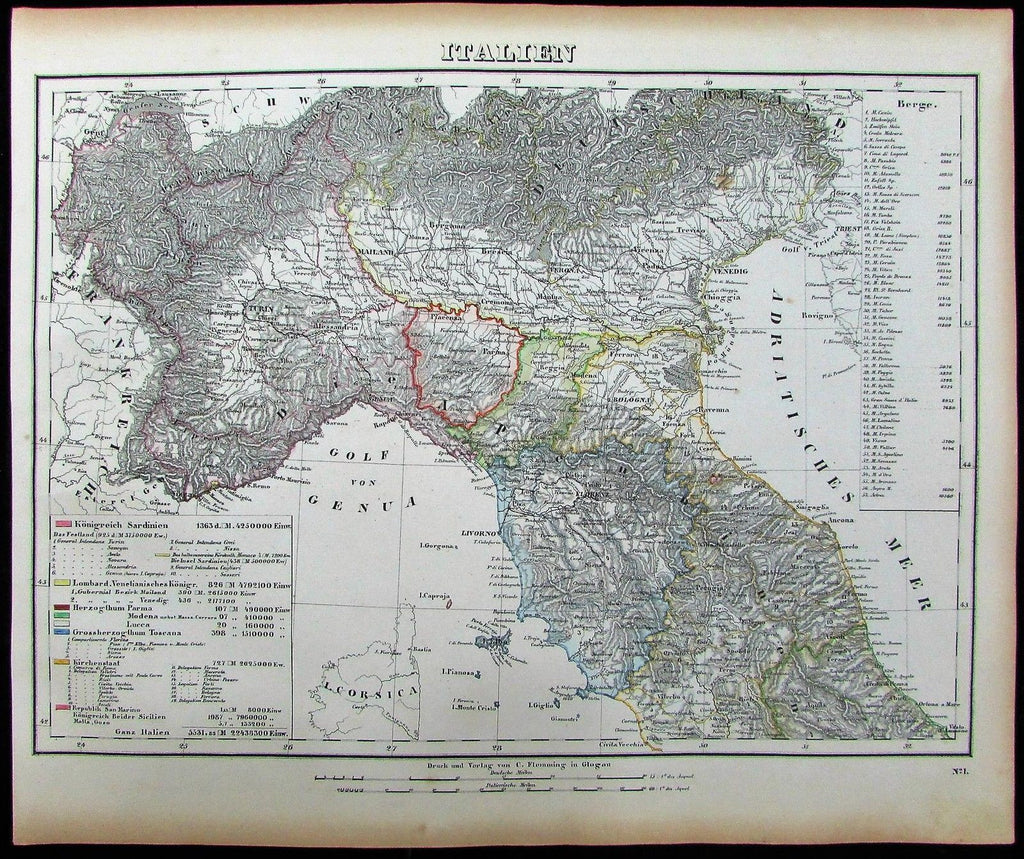 Northern Italy Genoa Torino Venice Milan 1852 Flemming old antique color map