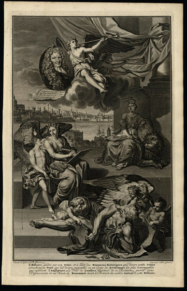 Decorative frontis 1741 Historical allegorical figures beautiful engraved print