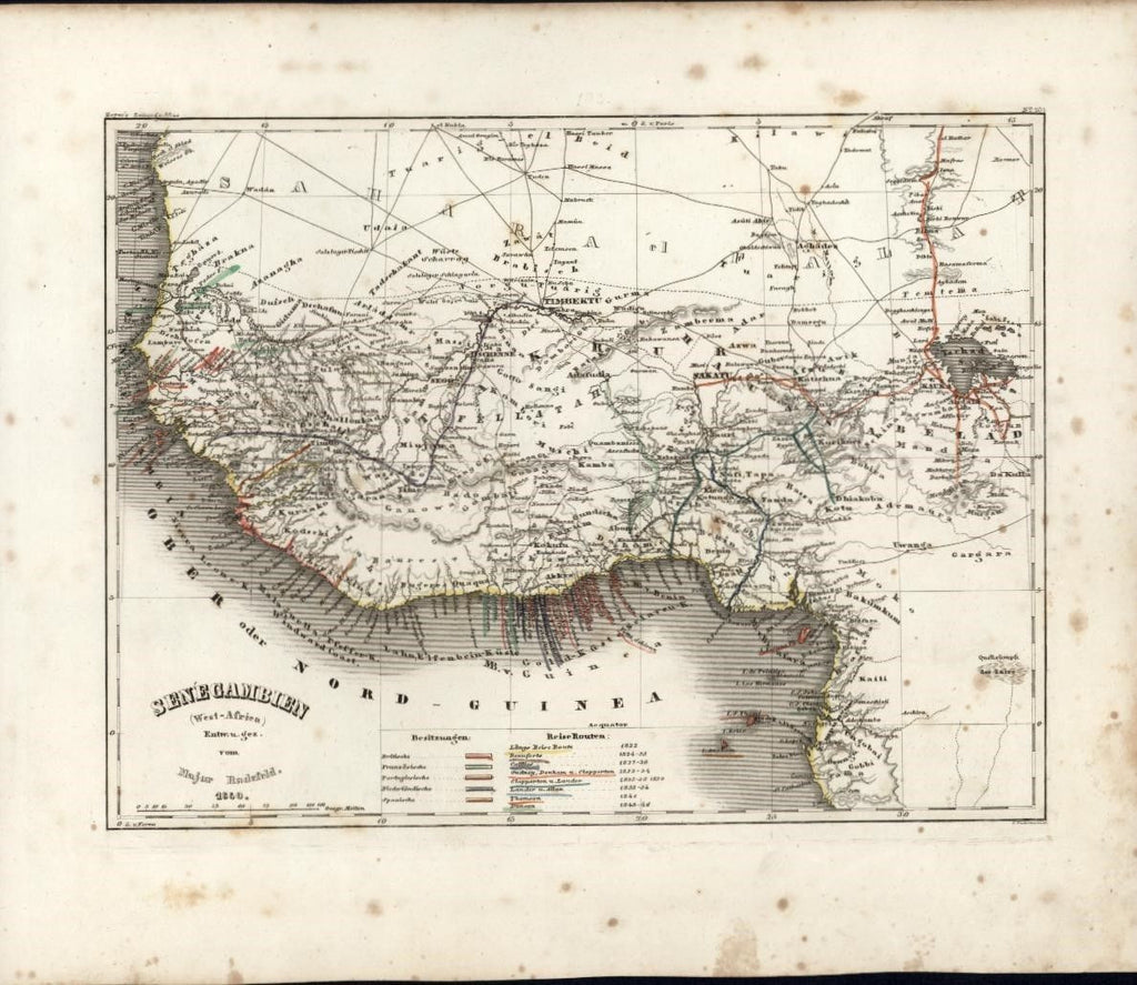West Coast Africa Senegambia c.1850 Meyer scarce detailed antique map