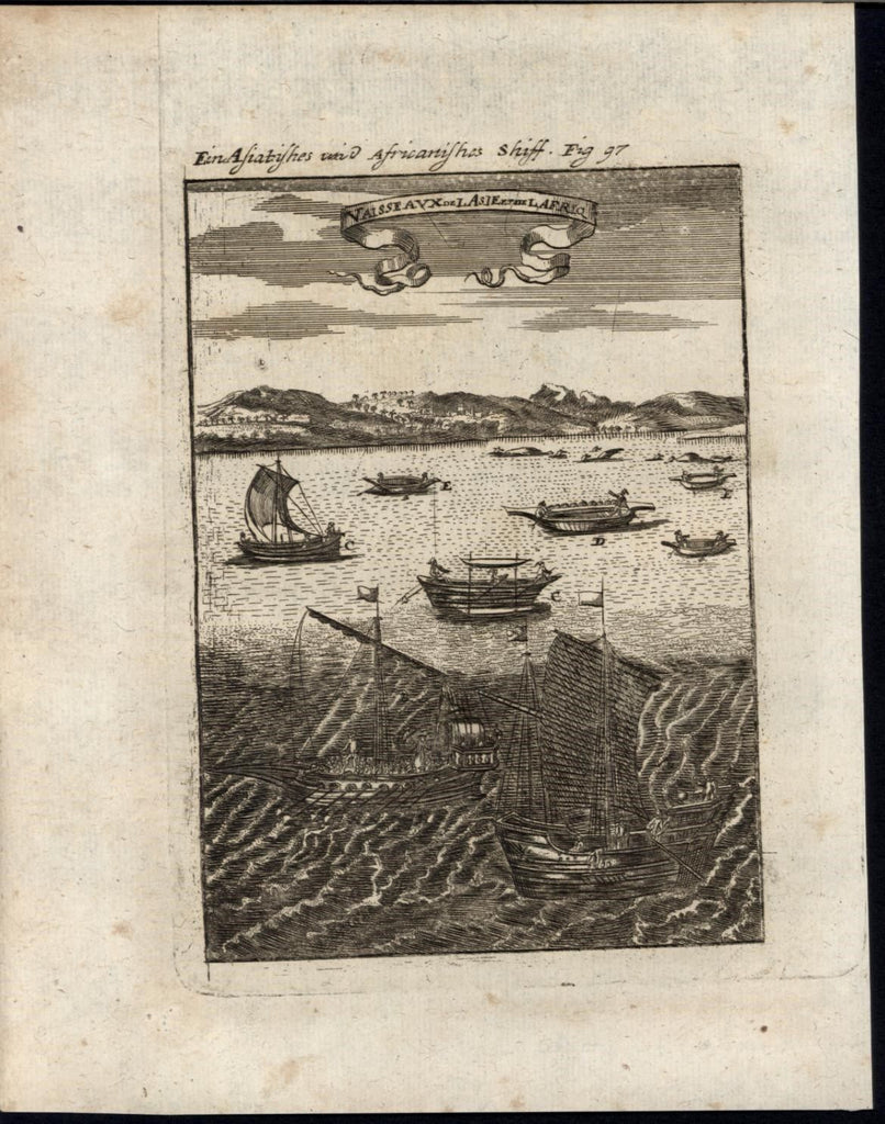 Ships of Africa & Asia Junks Riverboats Canoes 1719 antique Mallet World print