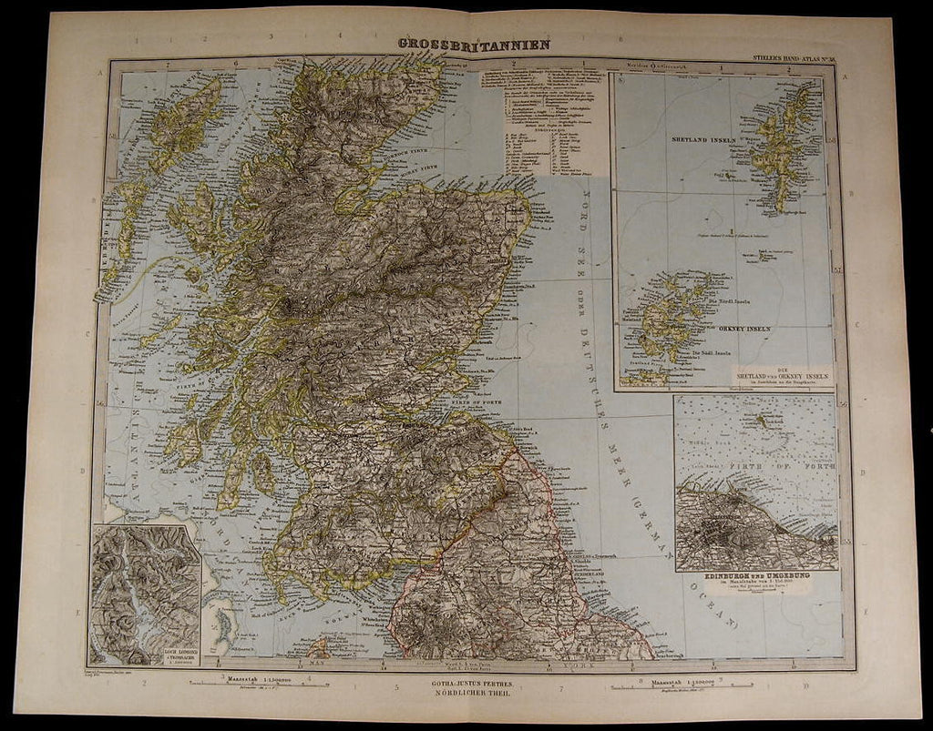 Great Britain Scotland Shetland Islands Edinburgh 1889 fine old detailed map