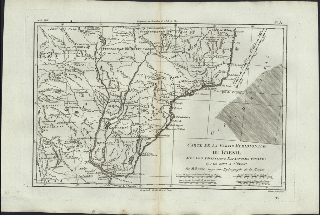 Southern Brazil w/ Spanish Possessions South America c.1780 Bonne antique map