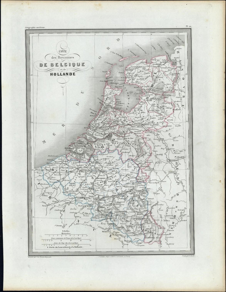 Belgium Holland Netherlands Kingdoms c.1840 uncommon antique map Bellier