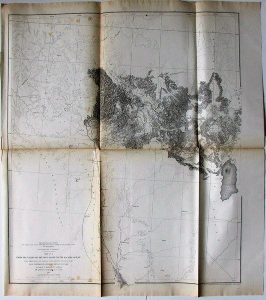 Mud Lakes to Pacific Ocean California Idaho 1855 Jeff Davis U.S. RR survey map