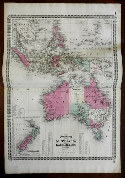Australia New Zealand Papua New Guinea 1870 A.J. Johnson Scarce Issue map