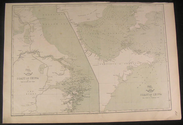 Coast of China Yellow Sea region c.1863 Weller scarce old vintage antique map