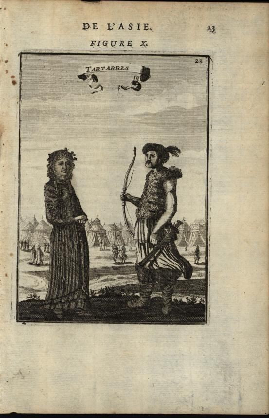 Tatar Man & Woman Hunter Archer Tent Village 1683 antique engraved print