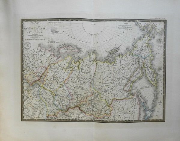 Asia Russia Siberia Mongolia Kamchatka 1836 Brue large detailed map hand color