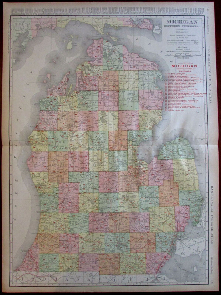 Michigan state by itself in great detail 1908 huge Rand McNally map RR lines