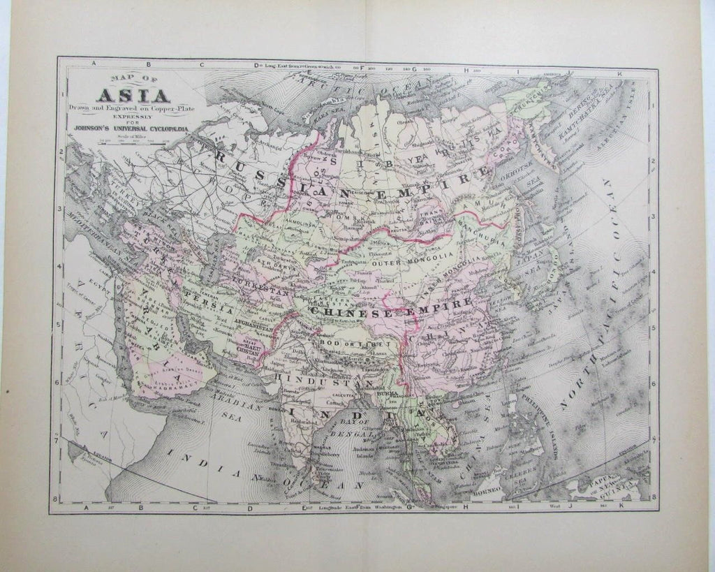 Asia Arabia Chinese Empire Siam Laos Anam 1890s hand colored Johnson antique Map