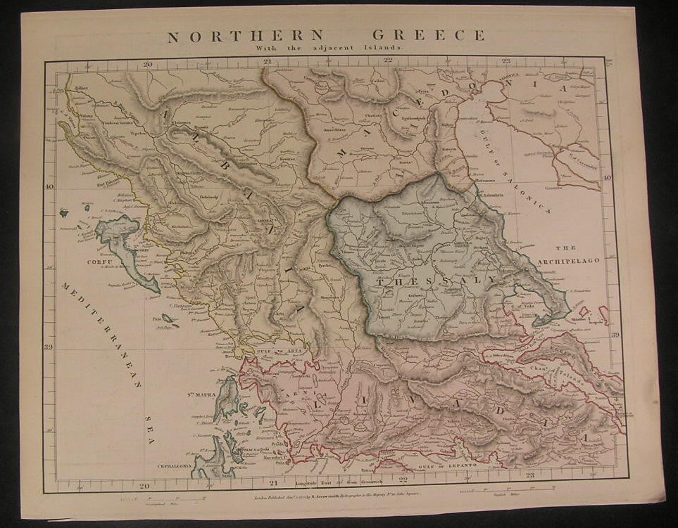 Northern Greece very detailed 1828 Arrowsmith fine old vintage antique map