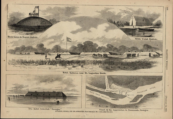 Savannah Rebel Batteries Ironclad Map of River 1863 great old print for display