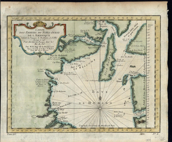 Canada Hudson Bay Barren Isle Fort of York 1759 old vintage Bellin map