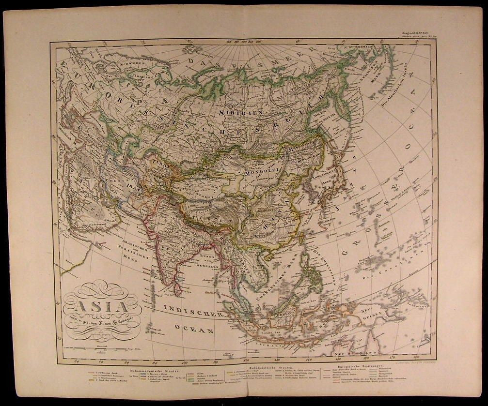 Asia Arabia China Hindustan Russian Empire Japan Iran 1857 scarce Stulpnagel map