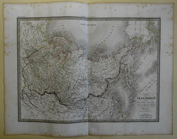 Russia in Asia Siberia Kamchatka Lake Baikal 1829 Lapie large folio map