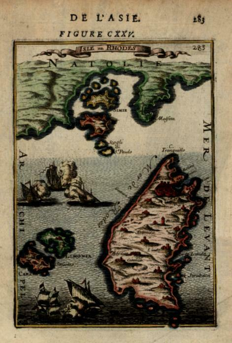 Island of Rhodes Ottoman Empire Warships Naval Battle 1683 Mallet miniature map