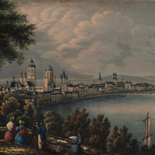 Maynz Germany panoramic harbor view c.1830-40 gorgeous gem print old hand color
