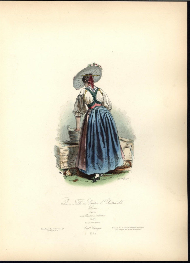 Swiss Woman Gathering Water Sun Hat Gold c.1870 antique hand color costume print