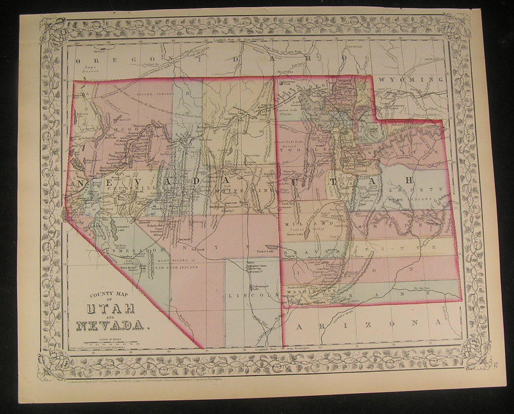 Utah & Nevada 1872 S.A. Mitchell fine antique lithograph hand color map