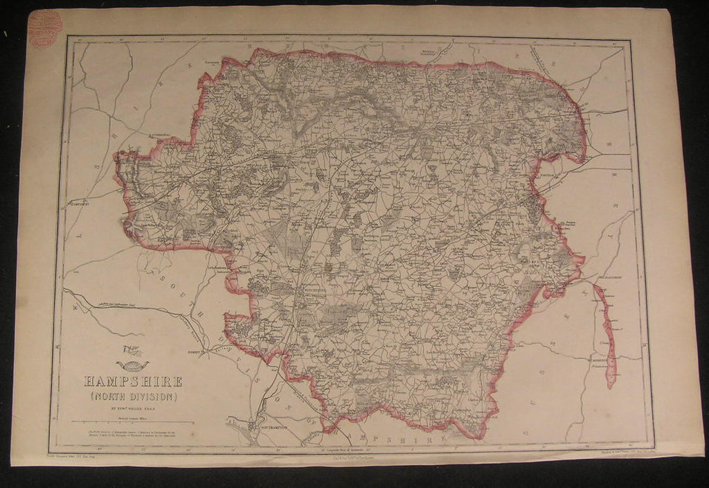 North Hampshire England c.1863 old vintage detailed Weller folio map