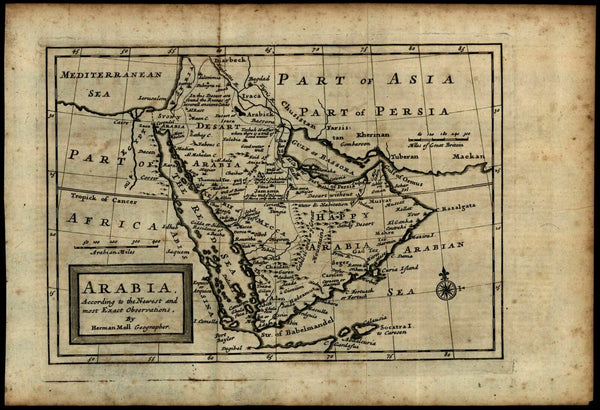 Arabian peninsula Mecca Middle East noting wells ruined cities 1712 Moll map
