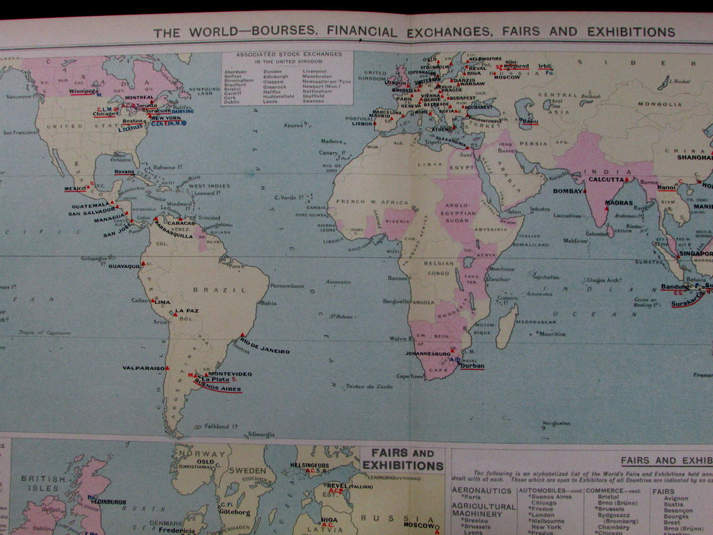 Global commerce trade bourses financial exchanges fairs 1925 commercial map