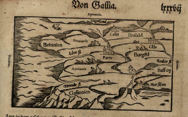 France 1598 Munster Cosmography primitive delightful wood cut miniature map