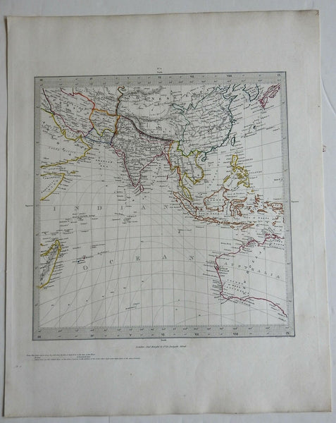 Indian Ocean Southeast Asia Australia Indonesia British Raj 1830's Walker map